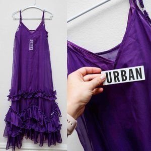 NWT purple sleeveless UO slip dress with ruffles